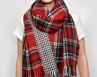 Reversible Double sided Plaid Scarf , Blanket scarf, Bloggers scarf, Huge scarf, Tartan Scarf, Soft scarf , wool scarf