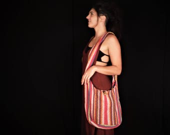 Hmong Fabric Shoulder Zip Bag Hand Woven Bag Ethnic Hill Tribe Fabric Bucket Bag Cross Body Festival Bag Hip Bag Boho Cotton
