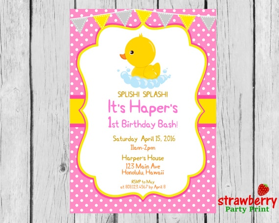 Rubber duck birthday invitation rubber ducky first birthday like this item filmwisefo Image collections