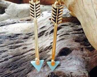 Gold and Mint Arrow Earrings - Arrow Earrings - Hunger Games - Archery