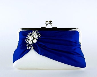 Petit in Royal Silk Clutch, Wedding clutch, Bridal clutch, Purse for wedding
