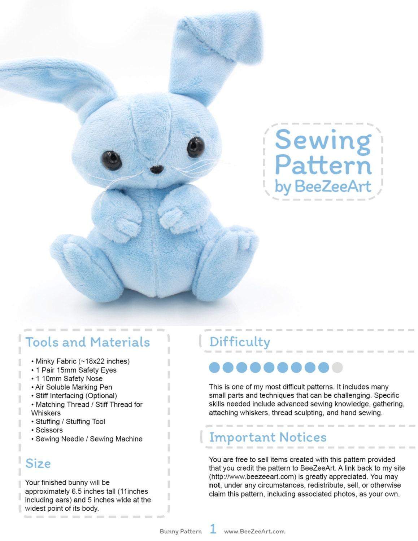 Bunny Stuffed Animal Sewing Pattern Plush Toy Pattern Rabbit