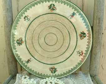 Antique Large Platter With Holland Spring Motif - Vintage Dutch Home Decor + Wall Art, Dinner Serving Plate, Snack Tray, Vintage Dutch Theme