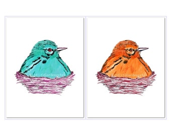 Birds in Nests Watercolor Art Prints, Aqua Blue and Orange, Set of 2, Modern Bird Art, Kids Room Art, Contemporary Nursery Art