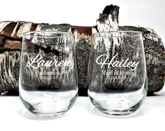 Personalized Stemless Wine Glasses Bridal Party 17 oz. Bridesmaids and Maid Of Honor Gifts