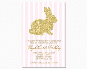 Gold Bunny Rabbit Birthday Party Invitation, Pink White Stripes, Gold Glitter, Easter Birthday Party Invitation, Printable or Printed