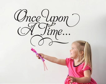 Once Upon A Time Wall Decal Fairy Tale Script Type Princess Wall Decal Room Decor