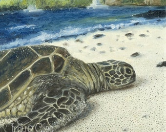Sea Turtle Art Print, Big Island SEA TURTLE, Sea Life Fine Art Giclee, Summer Beach Art, Home Decor, Hawaiian Wall Art, Turtle Lover Gift