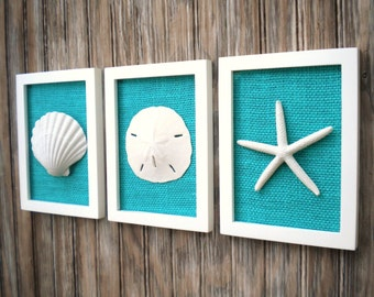 Cottage Chic Set of Beach Wall Art, Sea Shells Home Decor, Beach House Wall Decor, Sea Shell Art, Coastal Art, Pure White & Teal Burlap
