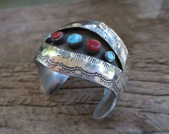 Vintage Fisheye Hollow Shadowbox Turquoise & Coral Wide Cuff. Native American Vintage Sterling Cuff. Boho Bohemian Women's Jewelry. E0008