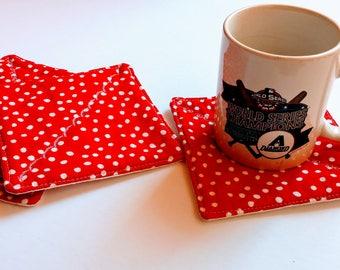 Unique Fabric Coasters, Red Polka Dots Coasters, Set of 4 Coasters