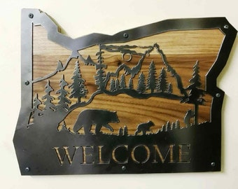 State of Oregon Wildlife Scene with Bears Cut Out of Recycled Steel and Attached to a Walnut Board Wall Hanging Welcome Sign
