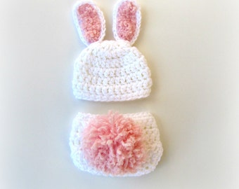 Crochet Bunny Hat and Diaper Cover Photography Prop Set Newborn Bunny Costume