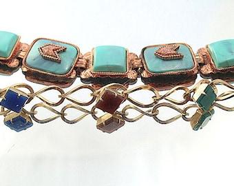 Two Vintage Bracelets Turquoise Link Multi Color Link Bracelets