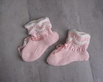 Vintage Pink Baby Booties