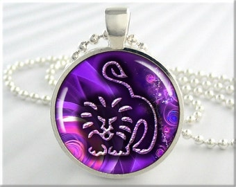 Zodiac Leo Necklace, Resin Pendant, Astrological Sign Charm, Leo The Lion Jewelry, Gift Under 20, Purple Accessory, Resin Charm 321RS