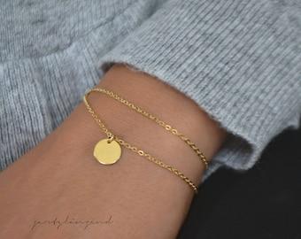 """Gold filled bracelet tile """"m"""""""