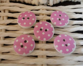 set of 5 pink wooden buttons has polka dots
