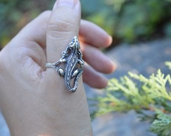 Sterling silver lizard ring,iguana ring,silver ring