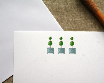 Flat note cards, Note cards, All occasion flat note cards, Watercolor note cards, topiary note cards, Correspondence, Stationery