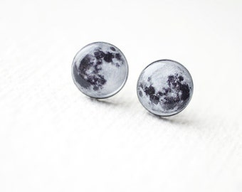 Full Moon earrings - Astronomy jewelry - Space - Ear Studs - Moon Studs Earrings BUY 2 GET 1 FREE