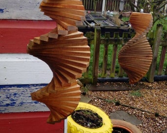 Hand made reclaimed Timber wooden wind spinners