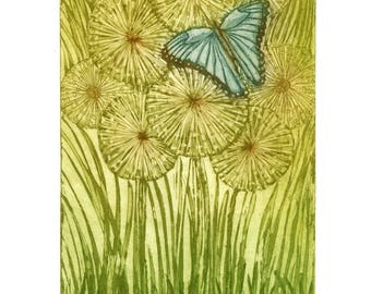 butterfly art print, blue butterfly art, dandelion art print, green print, insect print, romantic print, landscape art, nature art, etching