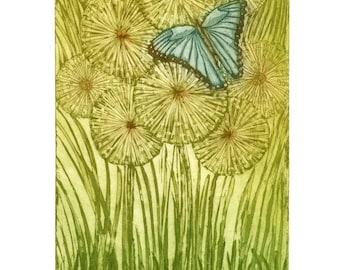 Schmetterling Kunstdruck, blauer Schmetterling Kunst, Löwenzahn Kunstdruck, print in grün, Insekten zu drucken, romantisch, drucken, Landschaft, Natur Kunst Radierung