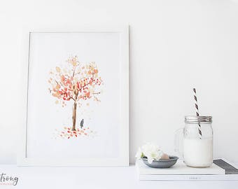Watercolour art print, Cherry Tree art print,  Giclee Art Print, cherry tree, archival art print