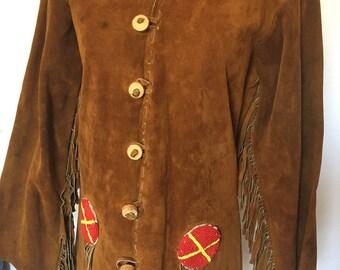 Vintage Handmade Suede Fringe Jacket