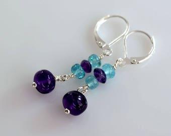 Amethyst Earrings, Apatite Earrings, Gemstone Earrings, Semi Precious Earrings, Dangle Earrings, OOAK Earrings, 201