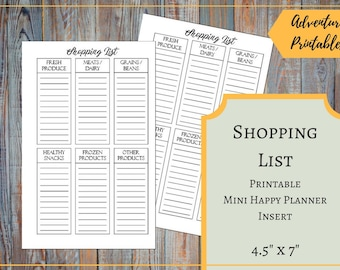 Shopping List Printable Insert for the Mini Happy Planner, Grocey List, Shopping List Categories, Fitness Grocery List, Mambi, Create365