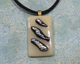 Beige Pendant withDichroic Accents, Fused Glass Pendant, Green Blue Dichroic, Statement Pendant, Fused Glass Jewelry - Ivory Tower -1927-6