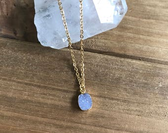 Ice Blue Druzy Micro Necklace // Gold Bezeled Natural Druzy Necklace // Layering Necklace