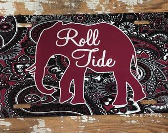 Alabama license plate roll tide car tag university of alabama paisley license plate