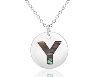 Letter Y Initial Necklace Abalone Necklace Abalone Pendant Birthday Gift Hypoallergenic Jewelry Abalone Shell Jewellery Paua Shell Necklace