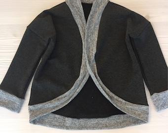 Toddler dark grey cardigan sweater - cocoon cardigan - dark grey sweater / butterfly cardigan