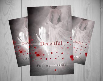 "Pre-Made eBook Cover ""Deceitful"" (Woman/Feather/White Dress/Red Petals)"