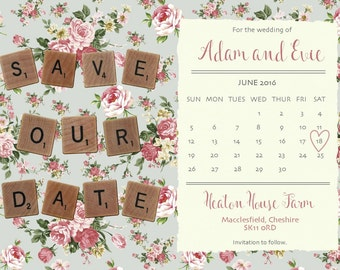 Rustic Save The Date Personalised Scrabble Calendar Cards