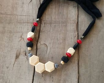Wood statement necklace, wood and red necklace, Modern Chunky necklace,honeycomb wood necklace, geometric necklace