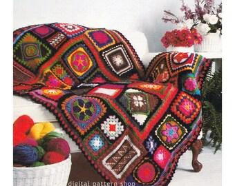 Crochet Afghan Pattern Vintage Granny Square Sampler Afghan Crochet Pattern Blanket Throw Yarn Stash Pattern Instant Download PDF - C177