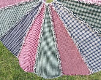 Christmas Tree Skirt, Farmhouse, Country, Rustic, Homespun, Rag Quilt, Holiday Decor