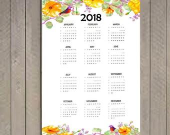 2018 Yearly Calendar, 2018 Calendar, Calendar Full Page Printable, Calendar printable, Calendar, Yearly Calendar.