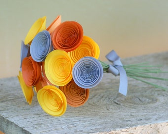 Modern Autumn Paper Flowers in Orange, Yellow and Grey Bouquet; Medium Paper Flowers; Autumn Decor; Thanksgiving Centerpiece