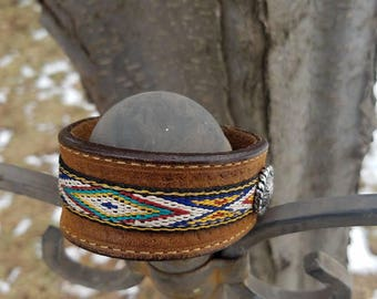 Leather Cuff Bracelet with Snap