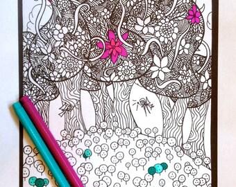 Kids Printable Coloring Page Fairies Instant pdf Digital Download Original Art