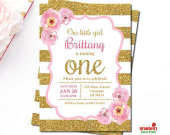 Pink And Gold Birthday Invitation, Girl First Birthday Invitation, Gold Glitter, Pink Floral, Personalized Invitation, A3