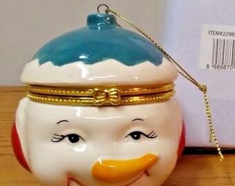 New in box SNOWMAN Hinged Keepsake Trinket Box christmas ornament