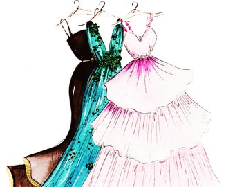 Spring Gowns Fashion Illustration Print