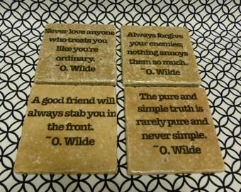 Oscar Wilde Quotation Tile Coasters - Set of 4